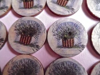 25mm Wood  Patterned  LAVENDER Flower Buttons